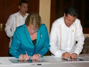 Con Michelle Bachelet Jeria, Presidenta de Chile