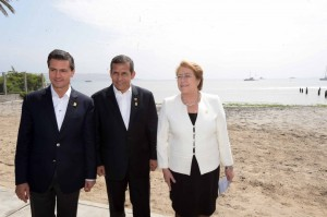 Con el presidente Humala y la presidenta Bachelet